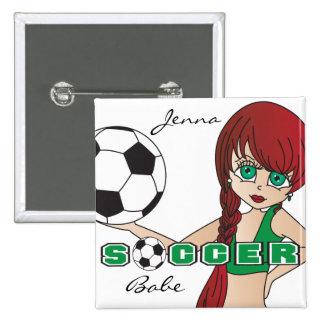 Soccer Ball Sports Girl | Green 15 Cm Square Badge