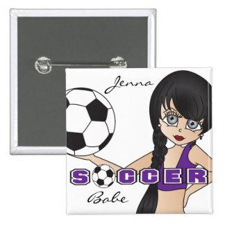 Soccer Ball Sports Girl | Purple 15 Cm Square Badge
