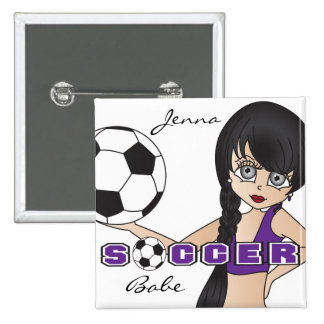 Soccer Ball Sports Girl   Purple 15 Cm Square Badge