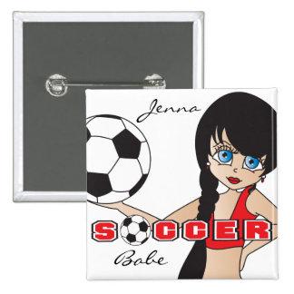 Soccer Ball Sports Girl | Red 15 Cm Square Badge