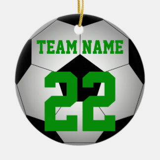 Soccer ball team name personalised christmas ornament
