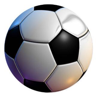 "Soccer ball theme circle party invitations 5.25"" square invitation card"