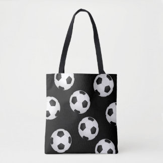 soccer ball tote bag black and white design