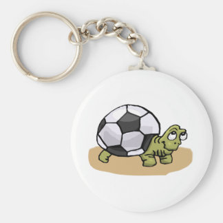 Soccer Ball Turtle Basic Round Button Key Ring