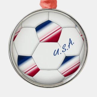 "Soccer ball ""U.S.A."". Ball of Soccer of the USA Silver-Colored Round Decoration"