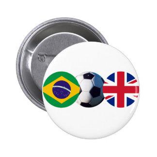 Soccer Ball UK & Brazil Flags jGibney The MUSEUM 6 Cm Round Badge