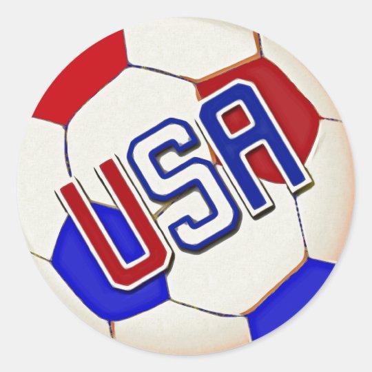 Soccer Ball USA Round Sticker