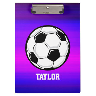 Soccer Ball; Vibrant Violet Blue and Magenta Clipboard