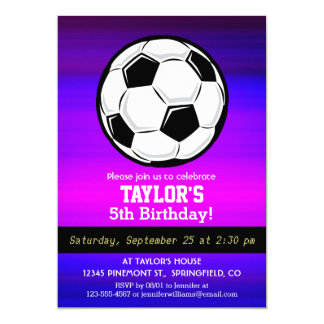 Soccer Ball; Vibrant Violet Blue and Magenta 5x7 Paper Invitation Card