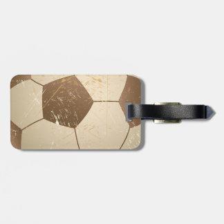 soccer ball vintage luggage tag