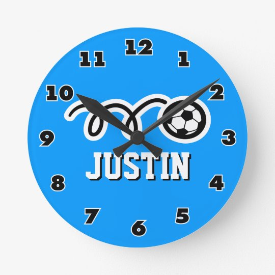 Soccer ball wall clock with name for sporty