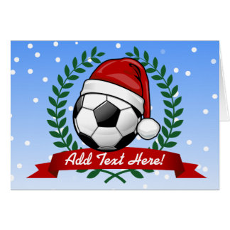 Soccer Ball Wearing a Santa Hat Christmas Greeting Card