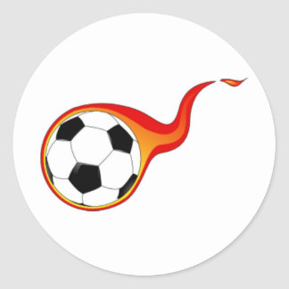 Soccer Ball with Flames Classic Round Sticker