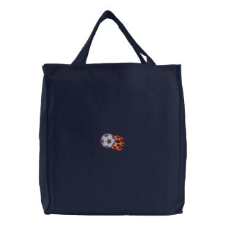 Soccer Ball with Flames Embroidered Bag