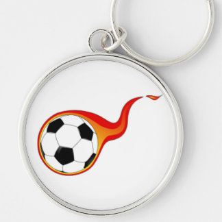 Soccer Ball with Flames Silver-Colored Round Key Ring
