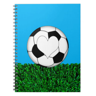 Soccer Ball with heart customizeable Spiral Notebook