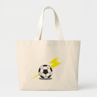 Soccer ball with lightning bolt tote bag