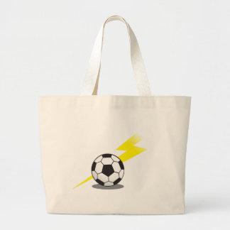 Soccer ball with lightning bolt jumbo tote bag