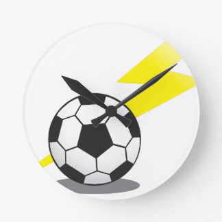 Soccer ball with lightning bolt round clock