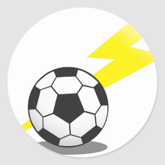 Soccer ball with lightning bolt round sticker
