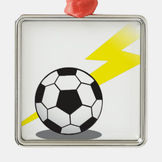 Soccer ball with lightning bolt Silver-Colored square decoration
