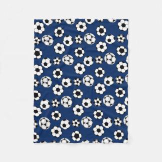Soccer balls blue white fleece blanket