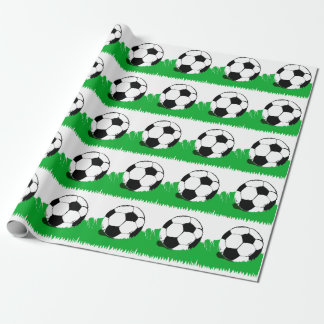 Soccer Balls in Grass Pattern Wrapping Paper
