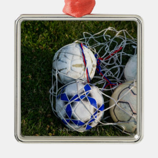 Soccer balls in net Silver-Colored square decoration