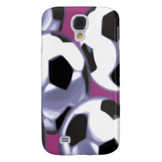 Soccer Balls purple background 3G 3GS Cas Galaxy S4 Cover