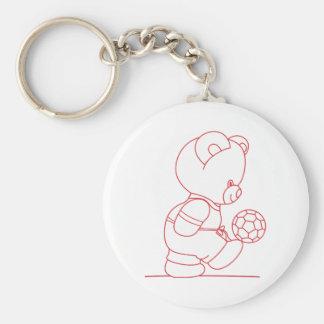 Soccer Bear Redwork Basic Round Button Key Ring