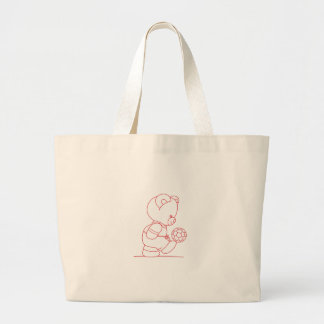 Soccer Bear Redwork Jumbo Tote Bag