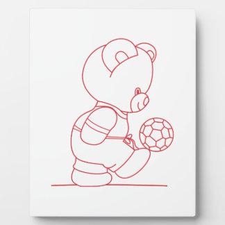 Soccer Bear Redwork Photo Plaque