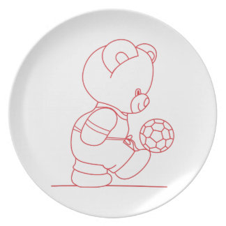 Soccer Bear Redwork Party Plate