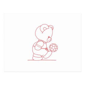 Soccer Bear Redwork Postcard