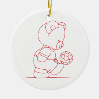 Soccer Bear Redwork Round Ceramic Decoration