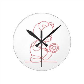 Soccer Bear Redwork Wall Clock