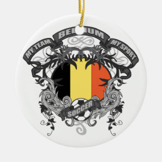 Soccer Belgium Round Ceramic Decoration