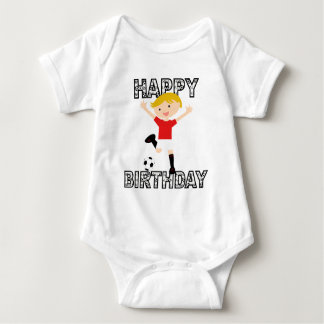 Soccer Birthday Boy 1 Red and White Baby Bodysuit
