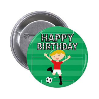 Soccer Birthday Boy 1 Red and White Button