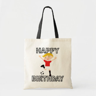 Soccer Birthday Boy 1 Red and White Tote Bags