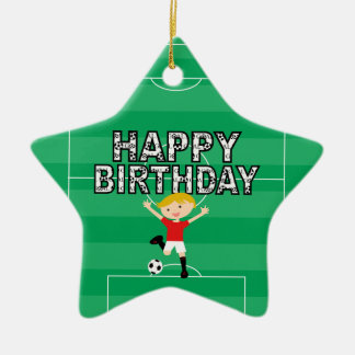 Soccer Birthday Boy 1 Red and White Christmas Tree Ornament