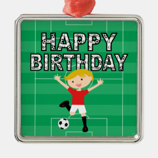 Soccer Birthday Boy 1 Red and White Silver-Colored Square Decoration