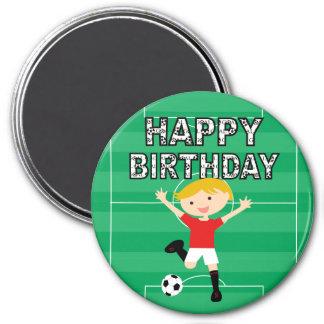 Soccer Birthday Boy 1 Red and White Refrigerator Magnet