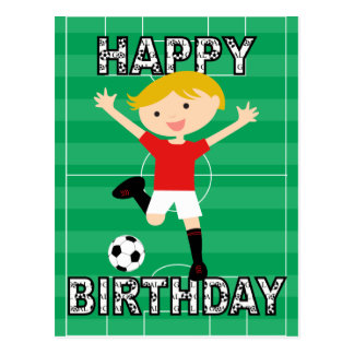 Soccer Birthday Boy 1 Red and White Postcards