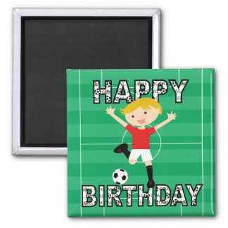 Soccer Birthday Boy 1 Red and White Square Magnet