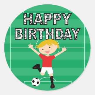 Soccer Birthday Boy 1 Red and White Classic Round Sticker