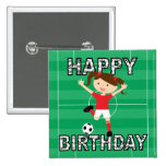 Soccer Birthday Girl 1 Red and White Pin