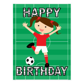 Soccer Birthday Girl 1 Red and White Postcard