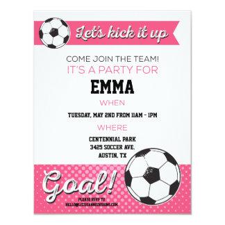 Soccer Birthday Party Invite 4.25x5.5 - Girl