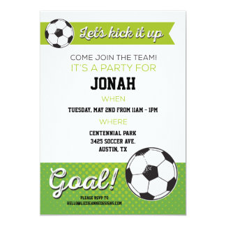 Soccer Birthday Party Invite 5x7- Boy